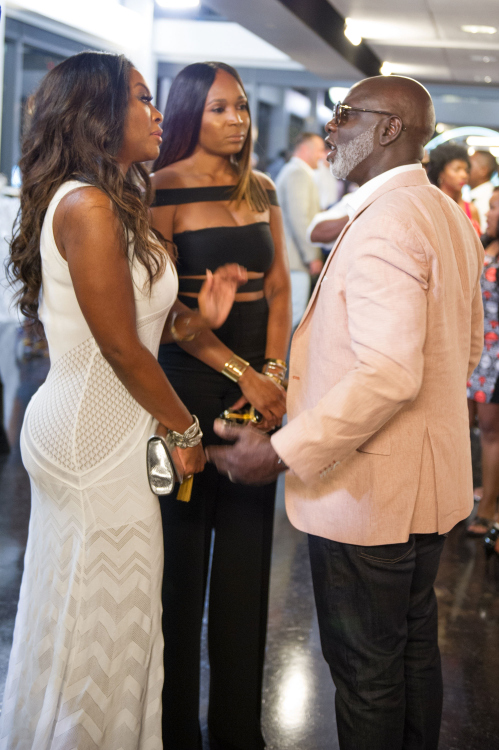 ATLANTA, GA - AUGUST 07:  Kenya Moore, Cynthia Bailey, and Peter Thomas attend Cynthia Bailey Eyewear launch party at Ventanas on August 7, 2015 in Atlanta, Georgia.  (Photo by Marcus Ingram/Getty Images)